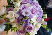 Ramo de novia boda / Ramo de rosas ocean, y fresias blancas y malva
