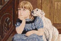niña y animales