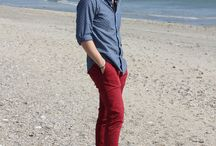 chino rouge homme