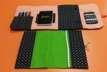 création couture / pochette bureau pour prise de notes et protège agenda de bureau coordonnée