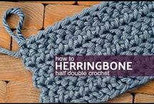 Herring bone half double crochet stitch