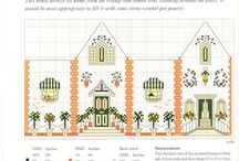 Cross stitch small houses