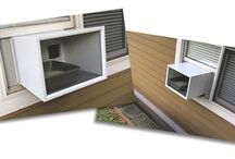 Katio : Your Kat's Patio! / Katio™ is a patented kitty litter box housing that goes into any standard or vertical window in homes, condos, high rise apartments - or any dwelling - exactly like a window air conditioning unit mounts into the window - only with more ease of setup and better insulation.  mykatio.com  #Cat #CatBox #WindowBox #CatPerch #MyKatio