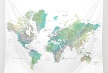 * Oriole - watercolor world map with cities in muted green and brown