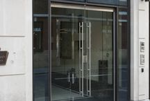 Frameless Glass Doors / Frameless doors, when the glass is structurally bonded together without any framing or extra support, where the glass itself supports the structure.