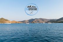 Sea Kyak in Grikos /  Your summer experience starts here With a total of 9 kayaks, #panexpeditions offers sea kayak trips around the majestic bay of Grikos.