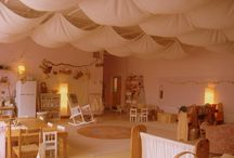 Classroom / Waldorf, soft, neutral, glowing, beautiful, inviting, warm, cozy, free. Childhood in a room.