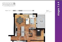 2D color floor plan illustrations / Floor plan of various condo design, illustrate in 2D with color texture and shadows.