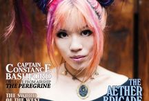 Steampunk Victorian clothing, hair, makeup - La Carmina model / La Carmina on the cover of steampunk magazine! Wearing two horned rainbow hair, Japanese makeup and octopus corset. Learn about Tokyo's steam-punk club party scene & see more photos: