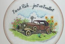 Antique Cars / Antique car embroidery painting for wall decoration.