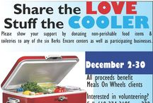 "Share the Love - Stuff the Cooler 2014 / Meals On Wheels Association of America has been chosen as a charitable partner of the Subaru ""Share The Love"" event. As part of this event, from December 2 to December 31, Berks Encore is hosting its second Share the Love/Stuff the Cooler campaign, asking people to donate items to Meals On Wheels clients. Drop off at all six centers, Fleetwood Bank locations, and Lausch's Moving & Storage."