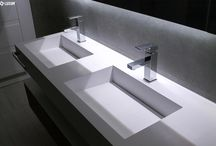 Double washbasin in grey bathroom