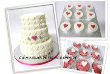 PINK HEARTS WEEDING TABLE / Table design - umdiadefesta ; Sweets - Bolos e Bolinhos Atelier