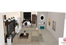 Consultoria de decoração: salas integradas compridas com projeto 3D!