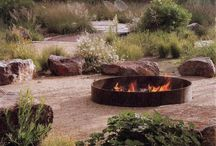 Fireplace in garden. Ognisko.