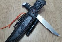 Leather sheath for survival knifes