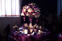 Royal Purple Table Design / The linens in the photo were gorgeous and so easy to compliment with floral arrangements and layers of details. #weddingflowers, #purpleweddingflowers