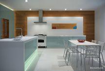 Modern Kitchen 3D Rendering / Modern Kitchen design LED study