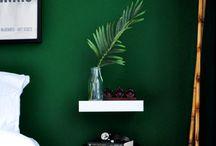 green walls bedroom