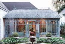 Conservatory, orangery, green, glass and hothouse