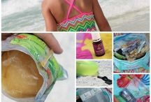 Beach Fun and Hacks with Kids / Going to the beach with kids of all ages can be super fun and manageable with these nifty beach hacks and ideas! Did you know that baby powder can remove sand easily? Check it out!