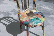las sillas ilustradas / sillas tuneadas con papel reciclado
