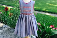Blue 100% cotton smoked dress, cherry dress with an adjustable bow in the back, Cigale Fr