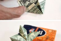 Money Origami / Money Origami DIY Paper Crafts Made With Folded Money. Dollar Bills Make Owls, Guitars, Stars, Animals, shirt, hat, butterfly. Dollar Origami with Money Tutorials and How To