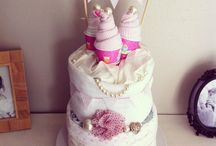 Doodles & Lace / www.facebook.com/doodlesandlace Elegant hand made bunting in an array of materials.  Bespoke baby boutique nappy cakes to order.