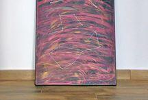 """""""Printre stele"""" / - tablou Unicdeco pictat si lucrat manual - tablou decorativ pentru interior, pictat manual in ulei pe panza  - inserarea manuala de becuri cu led tip stelute, alimentarea prin 3 baterii AA - dimensiune 50x70cm - agatatoare metalica simpla si acces facil schimbare baterii la nevoie"""