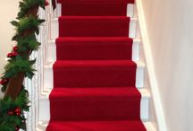 Luxury Red Stair Runner / Client: Private Residence in North London Brief: To supply & install a luxurious red carpet runner down stairs.