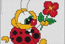 katicabogarak, lepkék, méhecskék