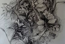 Anthea Martin's charcoal and ink drawings / drawings in different medium