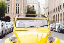 Vintage yellow cars