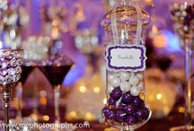 Purple and silver candy buffet
