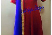 Anarkali / Red and blue combination Anarkali!!!
