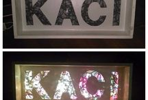 Lights / Box shelf with lights and cut out name / by Amber Kypke