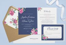 Design suite // Adela wedding stationery collection by Project Pretty / Navy and vintage rose floral wedding stationery by Project Pretty