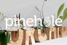 Pinehole : Applied Typography on Woodpots