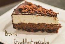brownie croustillant spéculoos et mousse vanille