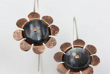 Earrings / One of a kind cow horn earrings.