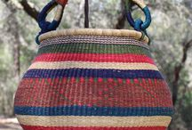 Bolga Gambibgo Pot Baskets / These are beautiful Bolga round baskets with a folding handle. They have a finer weave and take longer to make.