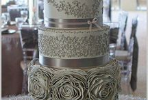 Silver grey coral wedding bling cakes