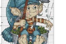 Cross stitch - gnomes