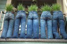 jardim com material reciclado