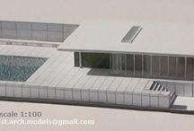 BARCELONA PAVILION,  Mies van der Rohe, 1:100 scale / BARCELONA PAVILION by Mies van der Rohe architectural scale model 1:100