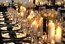 Black table cloth decorations