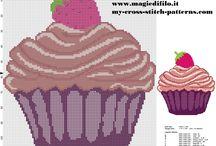 Сладости (пироженое, торты, конфеты...). Вышивка .