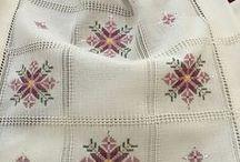 ponto reto p toalha de mesa em quadros de etamine
