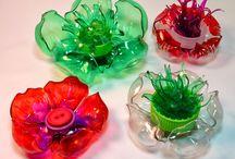 květiny z plastu